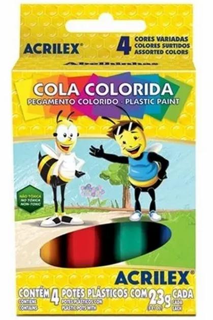 Cola Colorida Acrilex Caixa com 4 cores
