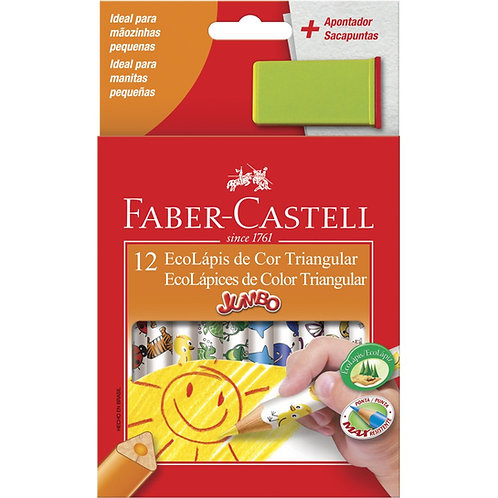 Lápis de Cor Jumbo Triangular Faber-Castell 12 Cores com Apontador