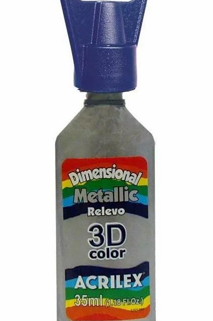 Tinta Dimensional Metálica 3D Acrilex Várias Cores