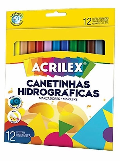 Canetinha Hidrográfica Acrilex 12 Cores