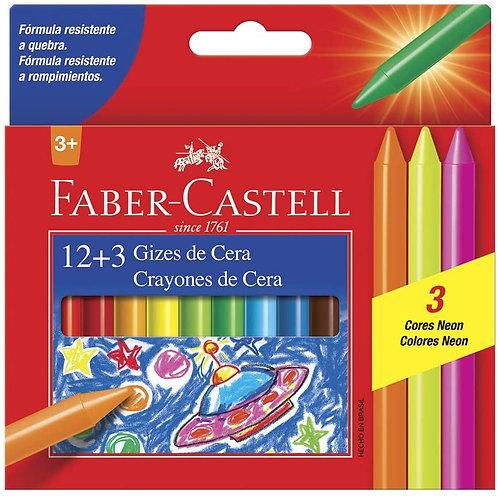 Giz de Cera Fino Faber-Castell com 12 +3 cores