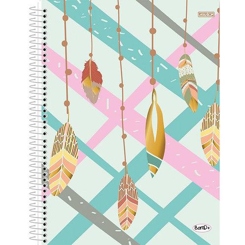 Caderno Universitário 10 Matérias Bom D+ Feminino 160 folhas