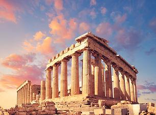 Parthenon temple on a sunset.