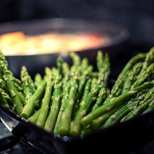 California asparagus braised in handcrafted buttered rum then grilled. Sprinkled with fresh roasted peppercorns, Persian Blue salt and smoked espresso