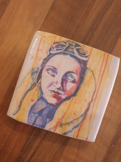Amy Johnson coaster by Diane Allerston