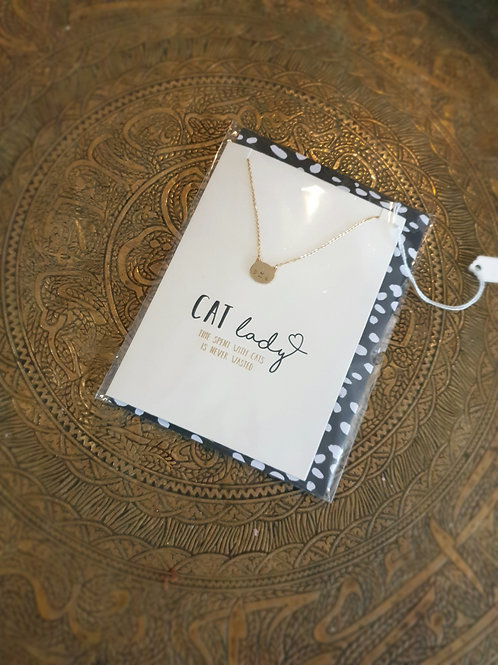 Cat Lady Necklace &  Greetings Card