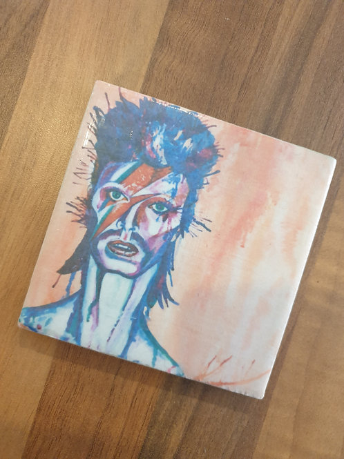 David Bowie coaster by Diane Allerston