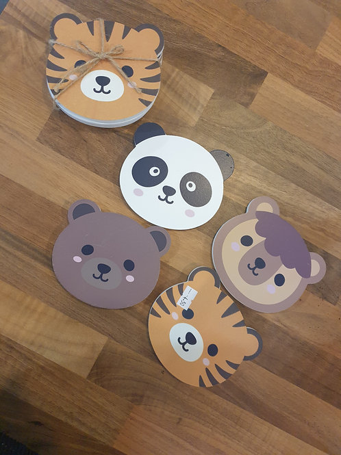 Set of 4 Kawaii Animal Coasters