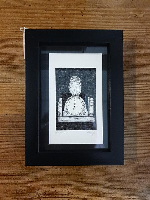 """Owl o'clock by Jenny Wren Draws 5x7"""""""