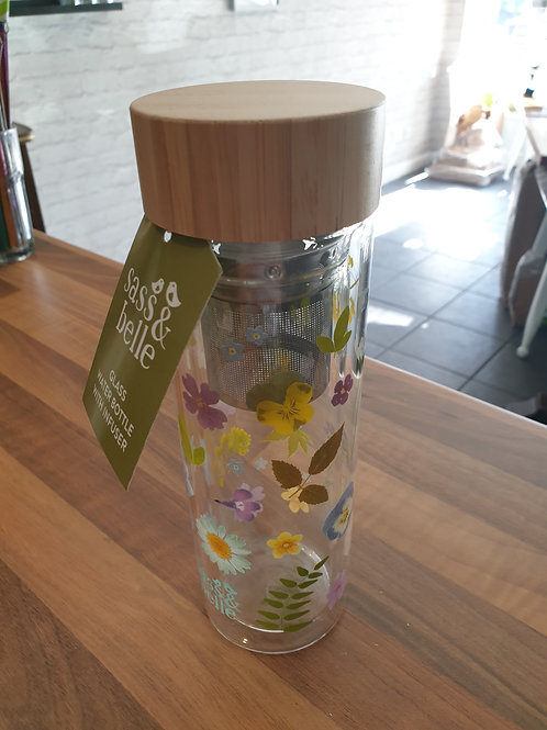 Sass & Belle Wildflower Glass Infuser Water Bottle