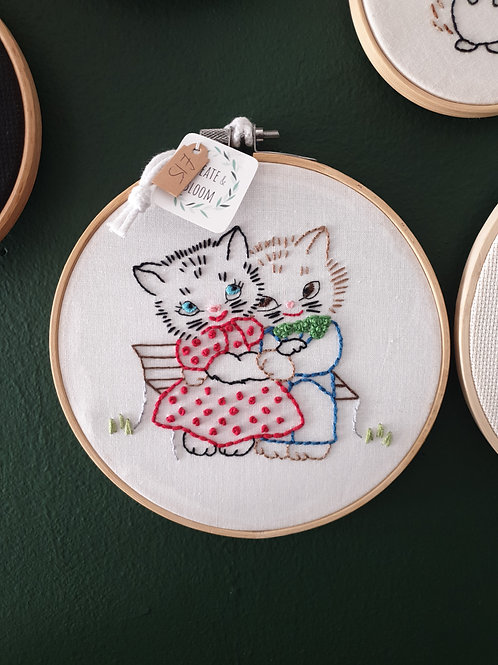 Cat Couple Embroidery by Create & Bloom