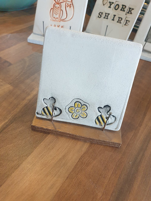Bee & Flower Coaster by Fwootpot Ceramics