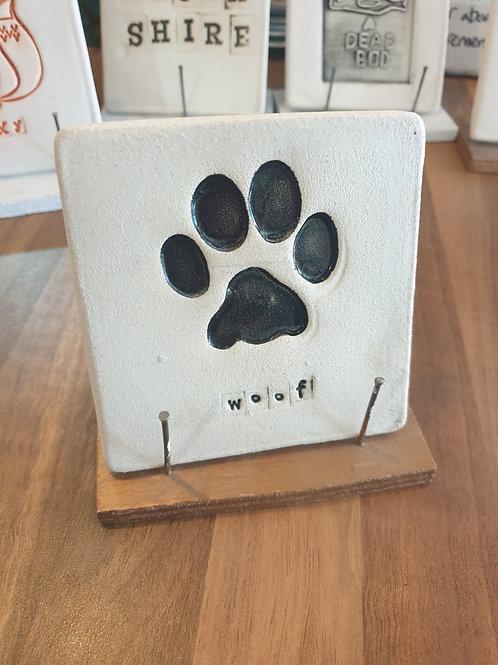 Woof print coaster by Fwootpot Ceramics