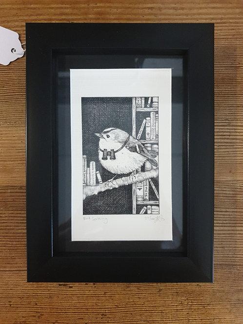 """Bird Spotting by Jenny Wren Draws 5x7"""""""