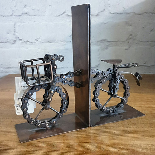 Recycled Bike Chain Bicycle Bookends