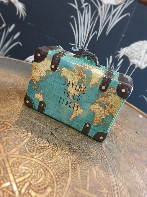 "Sass & Belle ""saving to go places"" suitcase ceramic money box"