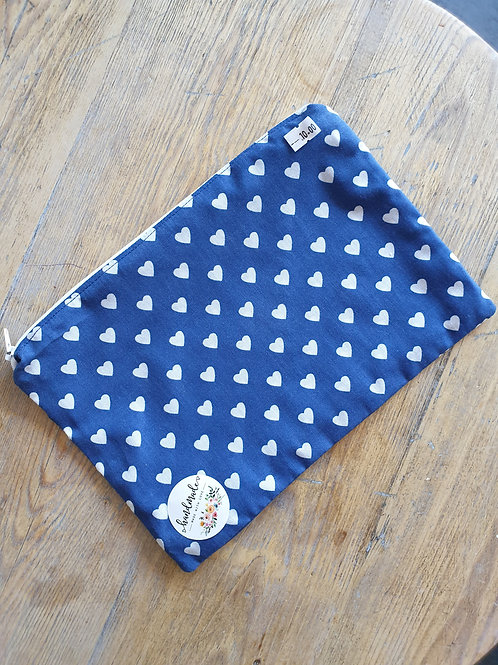 Lined Navy Polkadot Heart Zipper Pouch