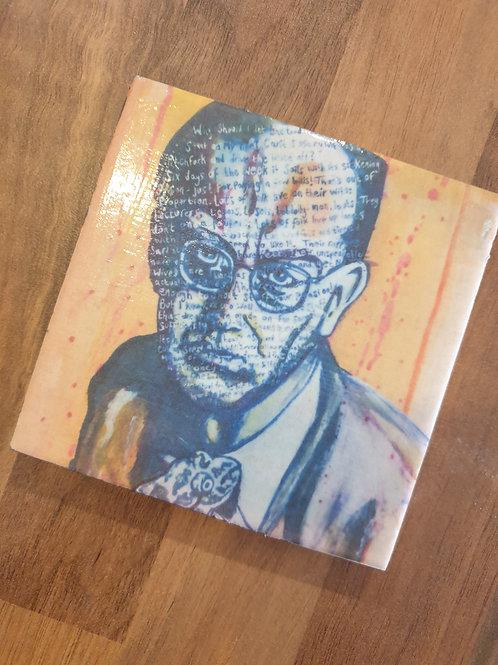 Philip Larkin Coaster by Diane Allerston