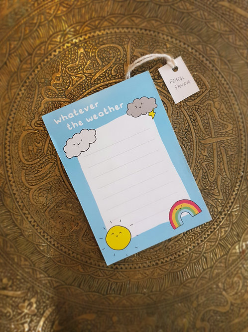 Whatever the Weather Notepad by Peach Panda Studio