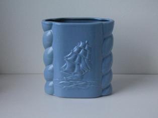 Baby Blue Abingdon Ship Vase