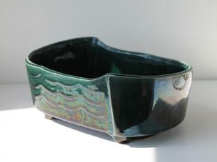 Vintage USA Pottery 257 Ceramic Iridescent Bluegreen Planter
