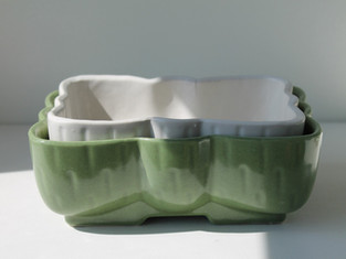 Vintage Upco Green and White Succulent Planters