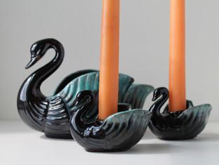 Vintage Swan Planter and Candle Holder Set