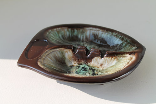 Small Vintage Brown, Green and White Ash Tray