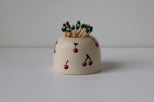 Cherry Ceramic Match Striker with Matches