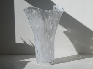 White and Clear Ruffle Vase Hand Blown in Poland