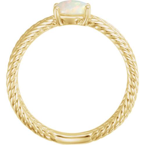 Rose Gold LuXury Opal Ring High Fashion Jewelry Brand Bezel Shank
