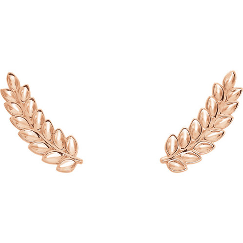 14k Rose Gold Leaf Ear Climber Earrings High Fashion Jewelry Brand