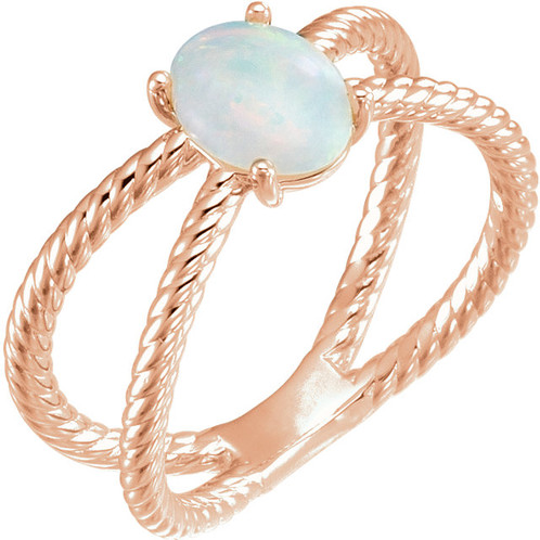 Rose Gold LuXury Opal Ring High Fashion Jewelry Brand Bezel Shank