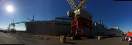 RED CLOUD on blocks at dock.JPG
