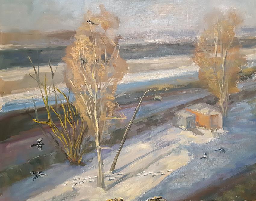 Екатерина Кебал, «Жизнь за окном», 2021 г., холст, масло, 40х50 см