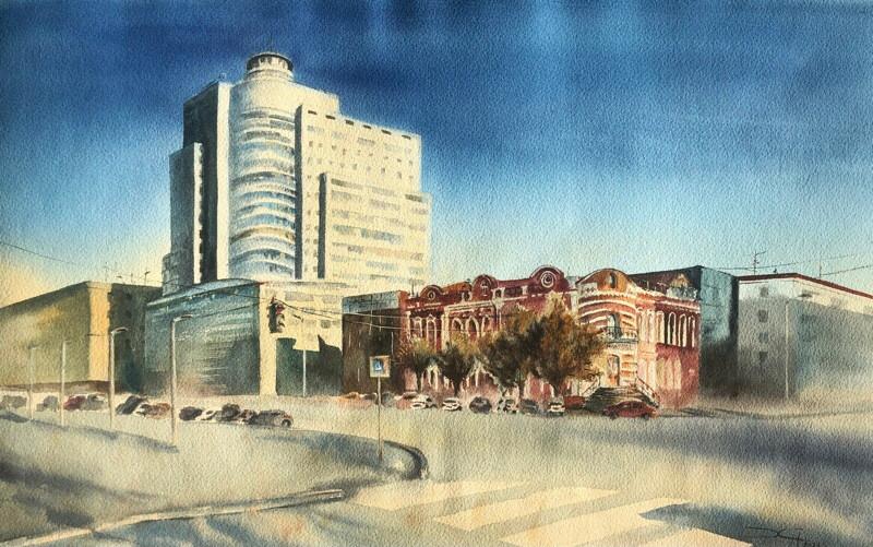 Надежда Ховаева, «Улица Комсомольская. Волгоград», 2021 г., бумага, акварель, 38х56 см