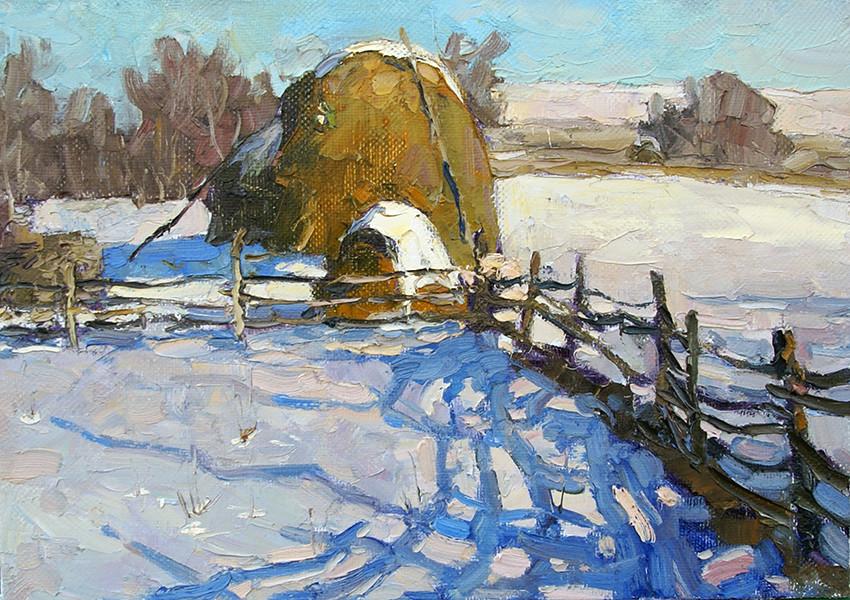 Андрей Вилков, «Зимние тени», 2020 г., холст, масло, 35х50 см