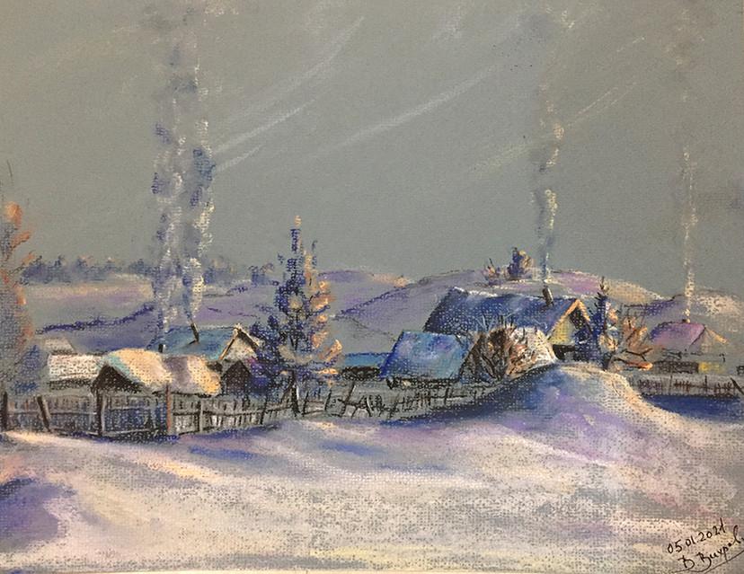 Валентин Вихров, «Канун Рождества. Уральская деревушка», 2021 г., тонированная бумага, пастель, 25х32 см