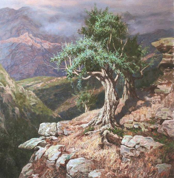 """Старая олива. Корсика"", 2008 г., х.м., 135х130 см"