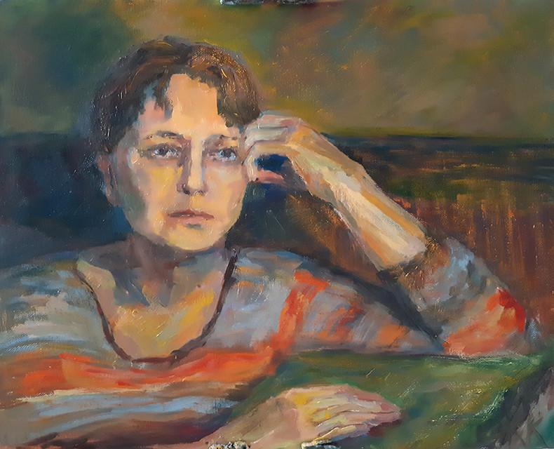 Екатерина Кебал, «Вечером (портрет Людмилы К.)», 2021 г., холст, масло, 40х50 см
