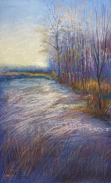 Анаит Варданян, «Морозное утро, Серебряный Бор», 2020 г., бумага, сухая пастель, 50х40 см