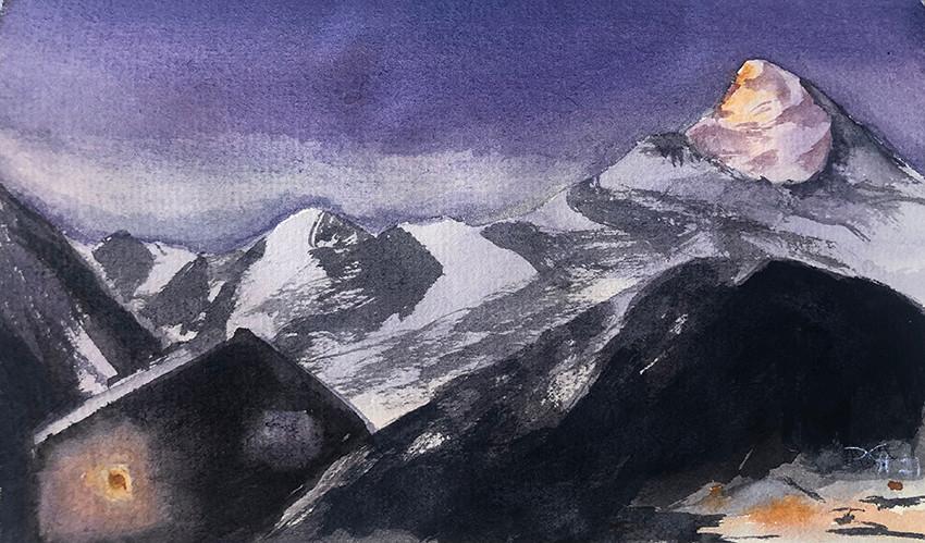 Надежда Ховаева, «Рассвет на Домбае», 2021 г., бумага, акварель, 10х16 см