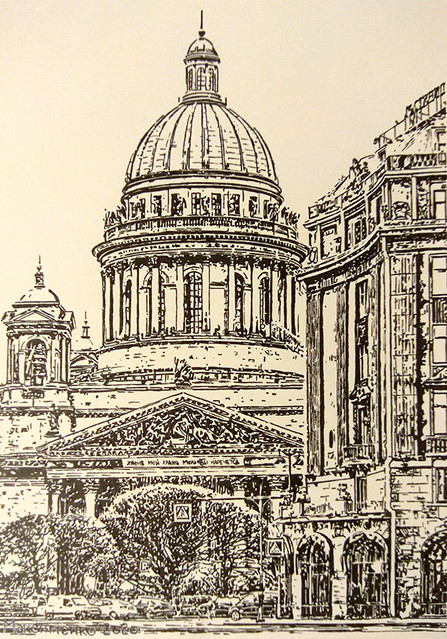 Олег Максименко, «На Исаакиевской площади», 2020 г., тонированная бумага, линер, 17х12 см