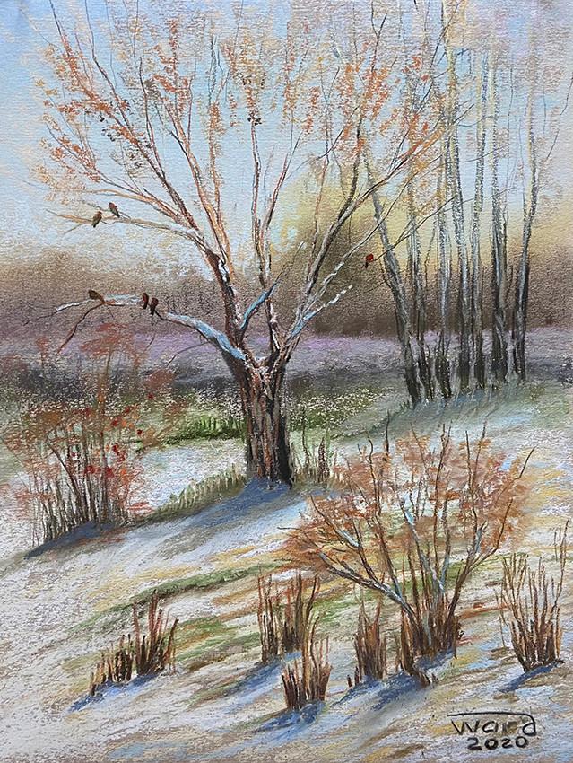 Анаит Варданян, «Солнечный день, парк Берёзовая роща», 2020 г., бумага, сухая пастель, 30х40 см