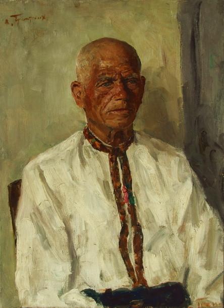 """В.Г. Гремитских """"Дед Опанас"""" холст, масло; 70х50; 1966 год"""
