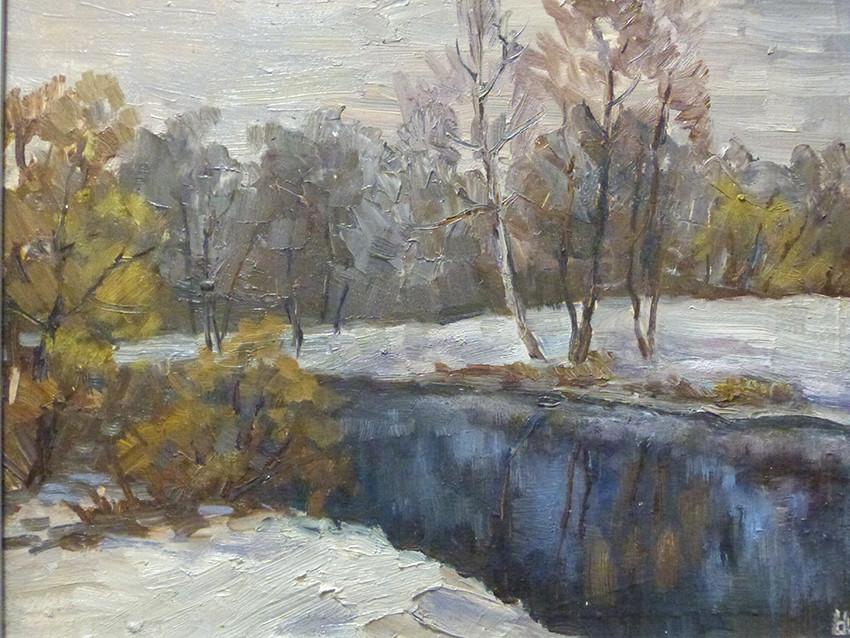 Надежда Шацкая, «Река Истра зимой», 2020 г., оргалит, масло, 35х45 см