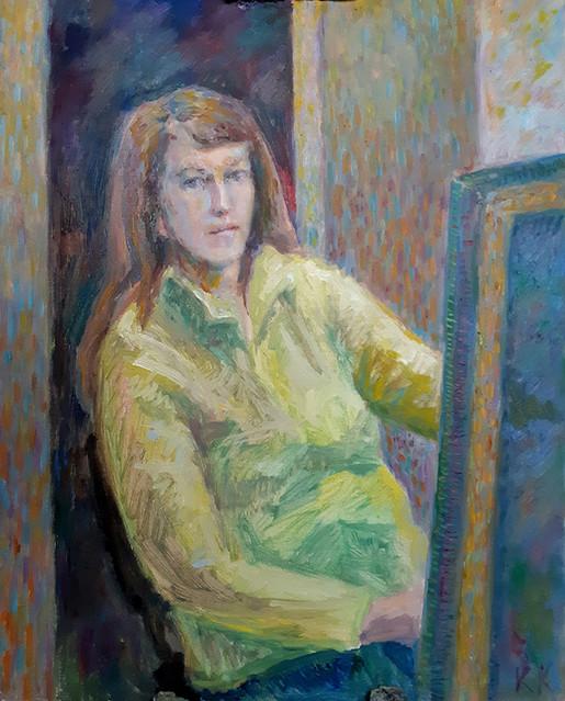 Екатерина Кебал, «Автопортрет в желтой кофте», 2020 г., холст, масло, 60х50 см