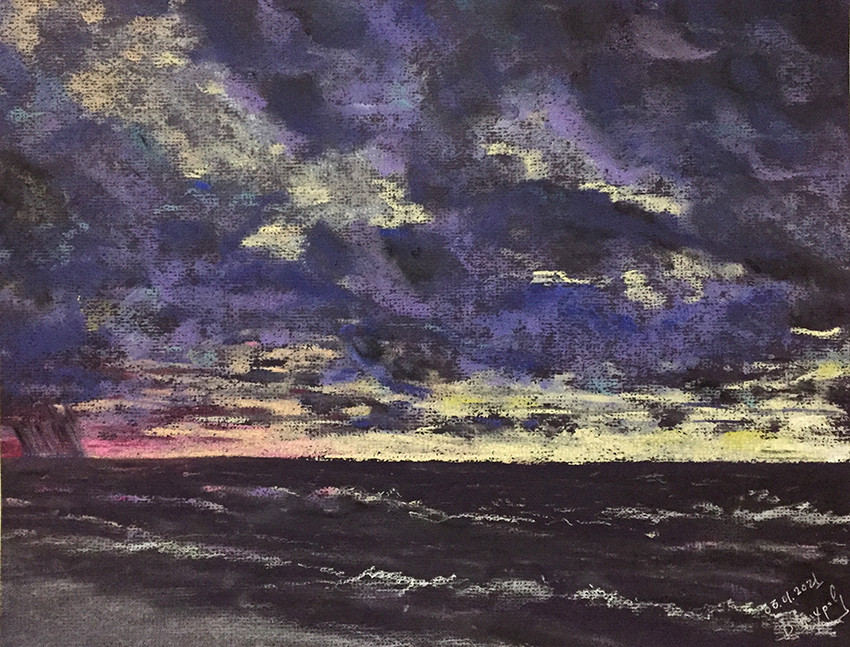 Валентин Вихров, «Январский закат в Лазоревском», 2021 г., тонированная бумага, пастель, уголь, мел, 25х32 см