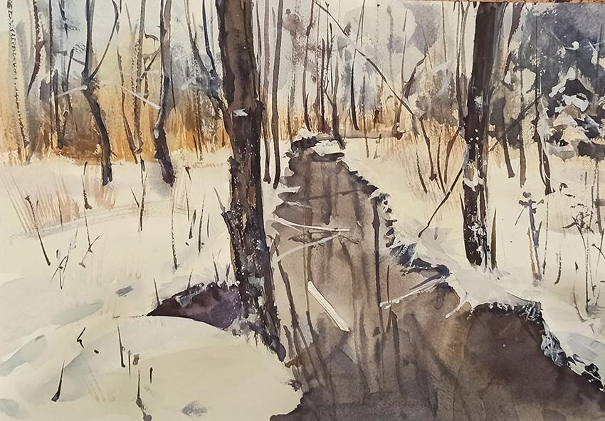 Елена Ситнер, «Январский день», 2021 г., бумага, акварель, 23х30,5 см