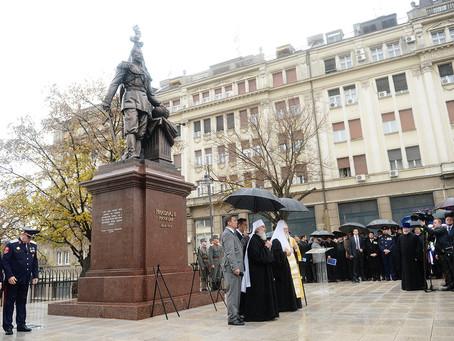 Патриарх Кирилл и президент Сербии открыли в Белграде памятник Николаю II